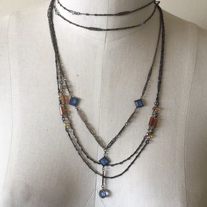 Jewelry - 1920's brass and blue crystal necklace glasses